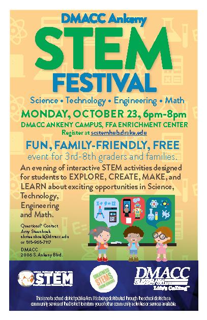 DMACC Ankeny STEM Festival Poster